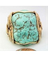 Turquoise Nugget Gold Wire Wrap Ring sz 7 - $43.00