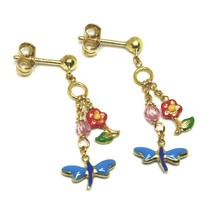 Drop Earrings Yellow Gold, for Girl, Flowers, Butterflies, Nail and Pink Quartz image 1