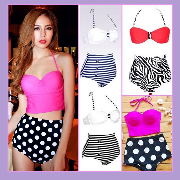 Four Retro Vintage Style High Waist 2 Pc Bathing Suit W/ Push Up Padded Bra Tops