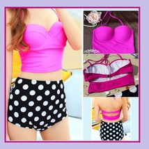 Four Retro Vintage Style High Waist 2 Pc Bathing Suit W/ Push Up Padded Bra Tops image 2