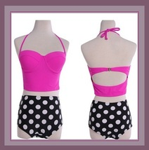 Four Retro Vintage Style High Waist 2 Pc Bathing Suit W/ Push Up Padded Bra Tops image 3