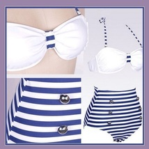 Four Retro Vintage Style High Waist 2 Pc Bathing Suit W/ Push Up Padded Bra Tops image 4