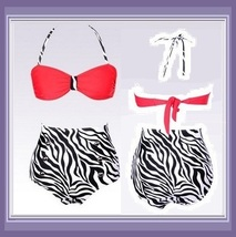 Four Retro Vintage Style High Waist 2 Pc Bathing Suit W/ Push Up Padded Bra Tops image 5