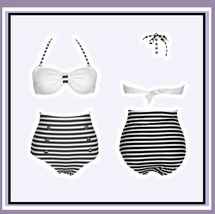 Four Retro Vintage Style High Waist 2 Pc Bathing Suit W/ Push Up Padded Bra Tops image 6