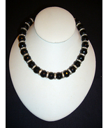 Jet Faceted Beads with Rhinestones C1950s - $19.95
