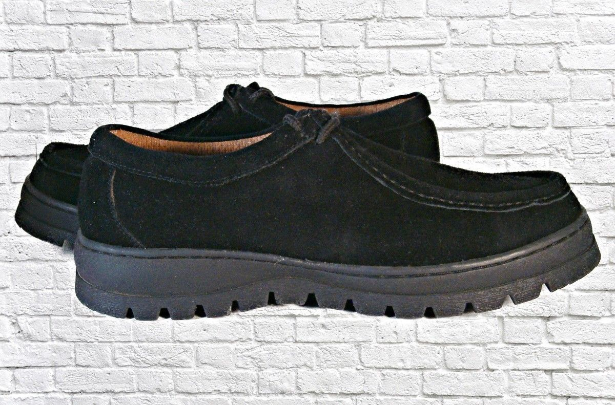 Domba USA Lace Up Work Shoe Boot Black Suede Rubber Sole Size 10.5M