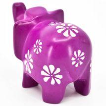 Vaneal Group Hand Carved Kisii Soapstone Fuchsia Elephant Figurine Kenya image 3