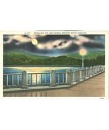 Moonlight on lake Tahoma, Western North Carolina, unused linen Postcard  - $4.99