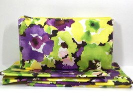 3pc Clinique Watercolor Flowers Cosmetic Makeup Bags (Purple, Green, Yellow) - $12.75
