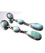 Vintage Sterling Larimar Art Deco Style Long Da... - $49.00