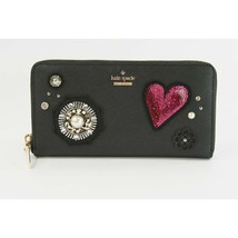 Kate Spade Black Leather Sequin Finer Things Large Zip Around Lacey Wallet NWT  - $162.86