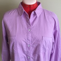 Riders by Lee Career Shirt Women's XXL Pink 100% Cotton Button Up Long S... - $26.96
