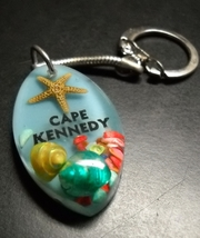 Cape Kennedy Key Chain Beach Theme Starfish Shells in Acrylic Florida Souvenir - $6.99