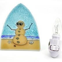 Fused Art Glass Beach Christmas Sandman Snowman Night Light Handmade in Ecuador