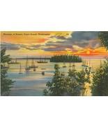 Moorage at Sunset, Puget Sound, Washington, unused linen Postcard  - $5.99