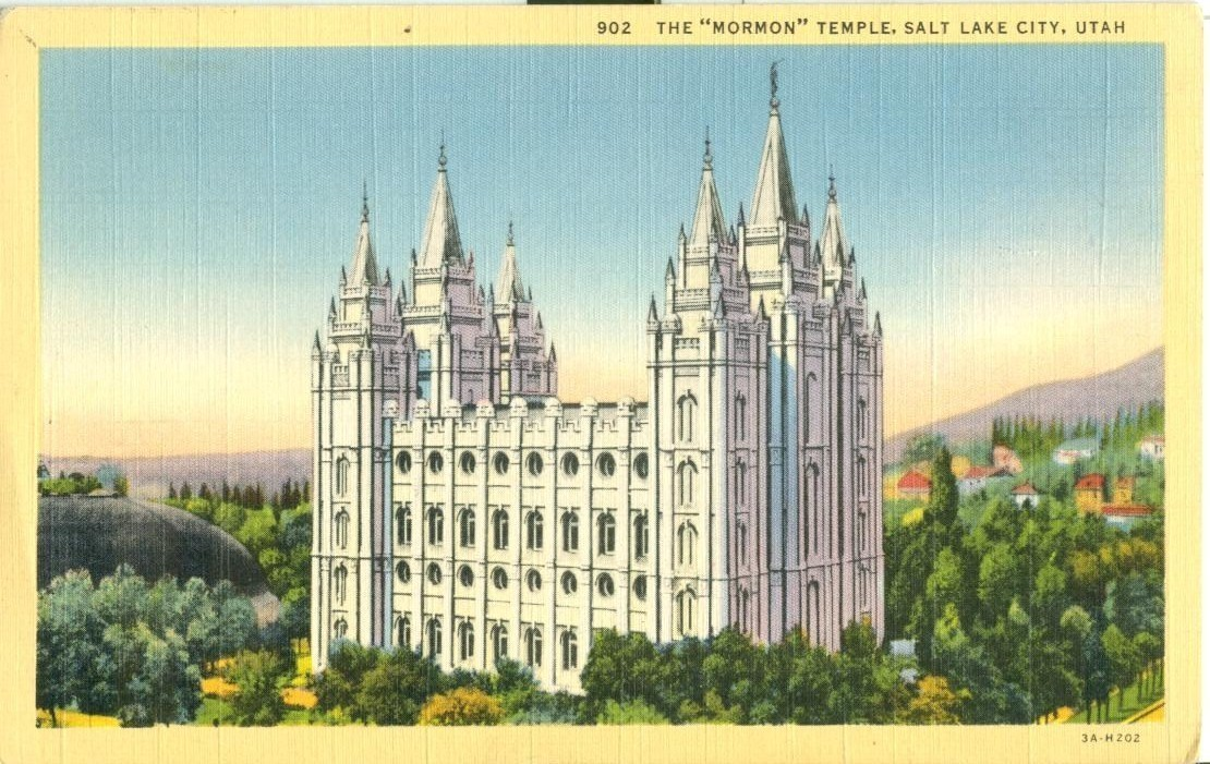 The Mormon Temple, Salt Lake Utah, unused linen Postcard