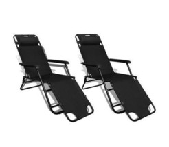 Outdoor Sun Lounger Set Of 2 Folding Chair With Adjustable Back Footstoo... - $140.13