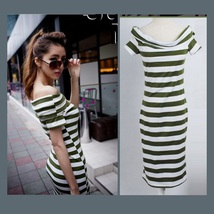 Black or Green Striped Off Shoulder Strapless Straight Sheath Cotton Maxi Dress image 1