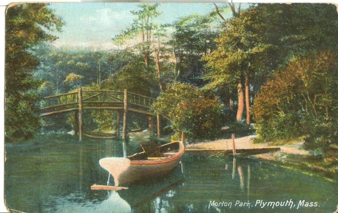 Morton Park, Plymouth, Mass, 1924 used Postcard
