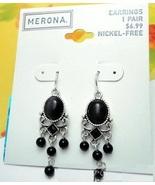 Merona Black Stone Silver Chandelier Earrings - $4.00