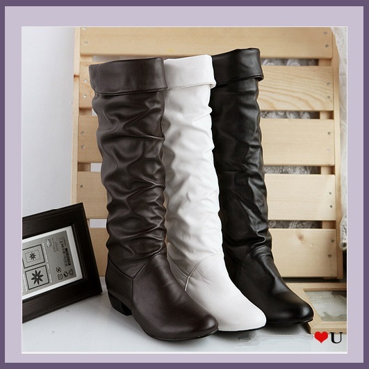 Soft Supple Slide on Leather Low Heel Equestrian Riding Boots, Mid Calf High