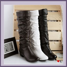 Soft Supple Slide on Leather Low Heel Equestrian Riding Boots, Mid Calf ... - ₨5,817.97 INR