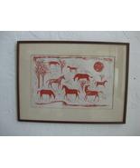 Folk Art Original Artist *Joan Drew* Horses on a Hill Serigraph circa 1958 - $345.00