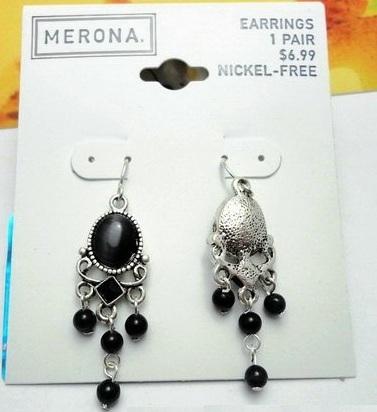 Merona Black Stone Silver Chandelier Earrings