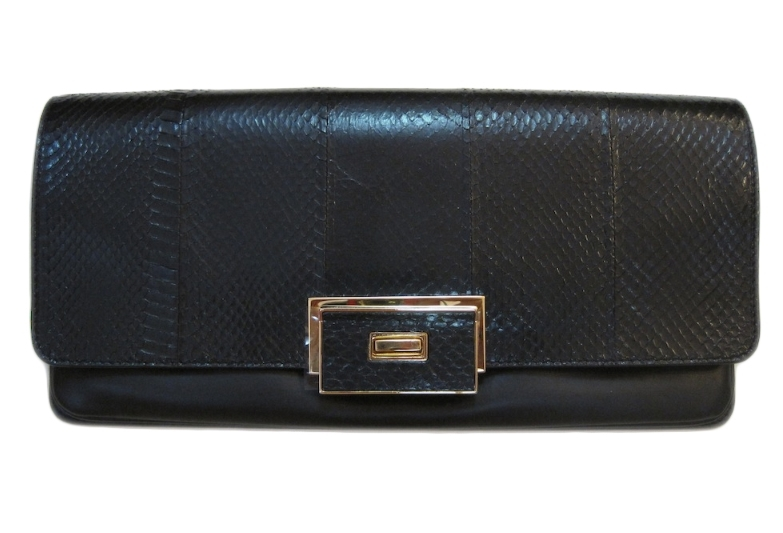 NWT LANVIN Black Evening Bag Clutch in Snake Elaphe and Leather w  Strap -   2 59a91e00bd286