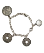 Vintage 1910's 1930's Silver French Coin Charm Bracelet - $55.00