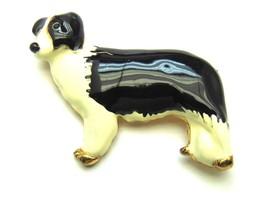 Vintage Border Collie Pin Enamel Old English Sheep Dog Brooch Herder Canine - $23.70