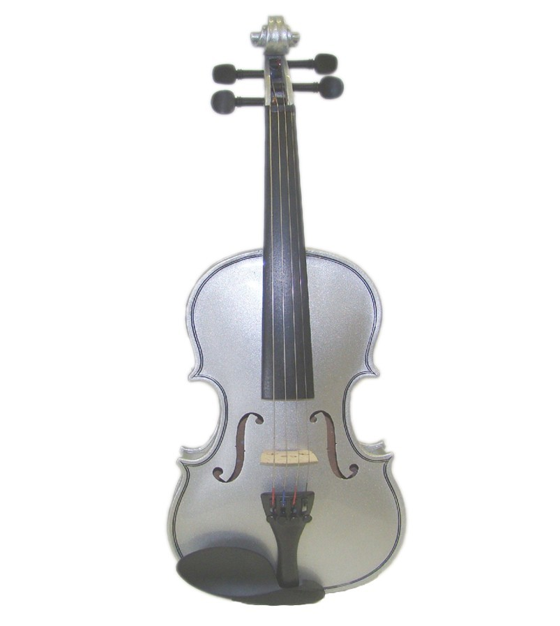 "15"" Hand Made Solid Wood Ebony Viola with Case and Bow - SILVER"