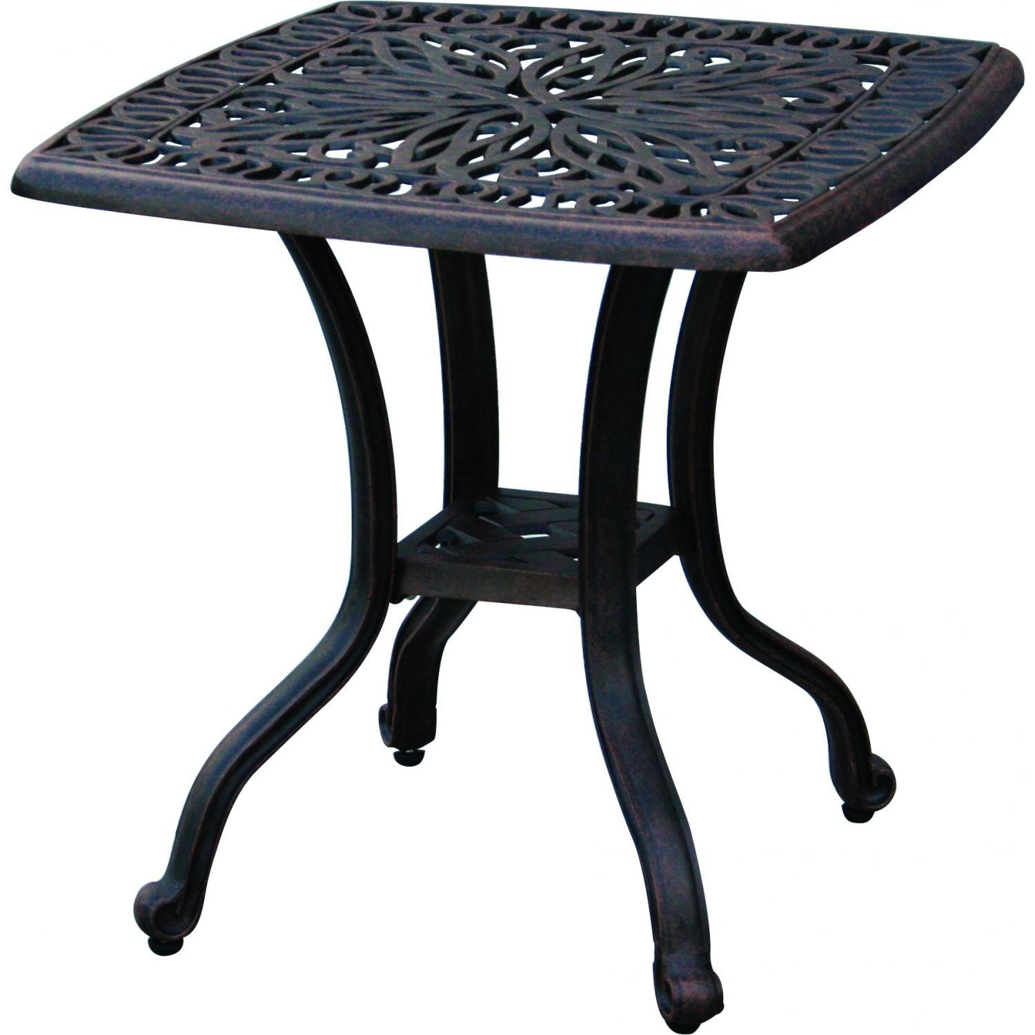 Patio end table elisabeth outdoor cast aluminum furniture for Patio furniture table
