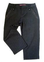 Girls Size 10 Limited Too Black Pinstripe Capri Crop Pants Stretch Rhinestones - $9.40