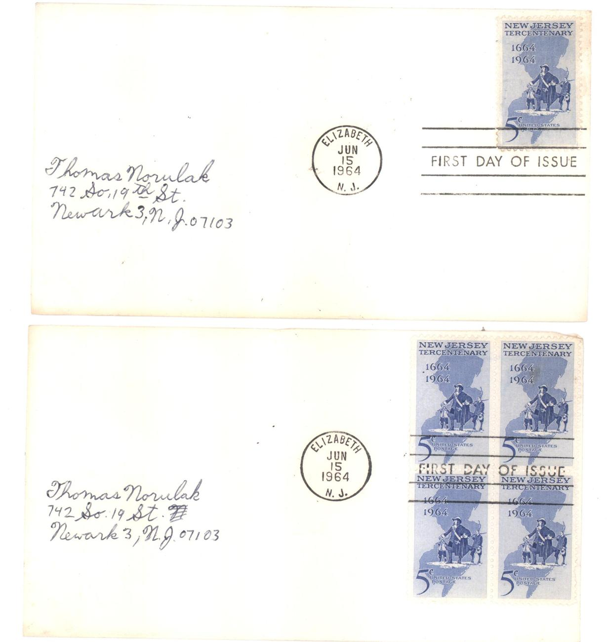 New Jersey Tercentenary First Day Covers Jun 15, 1964 single & block of 4