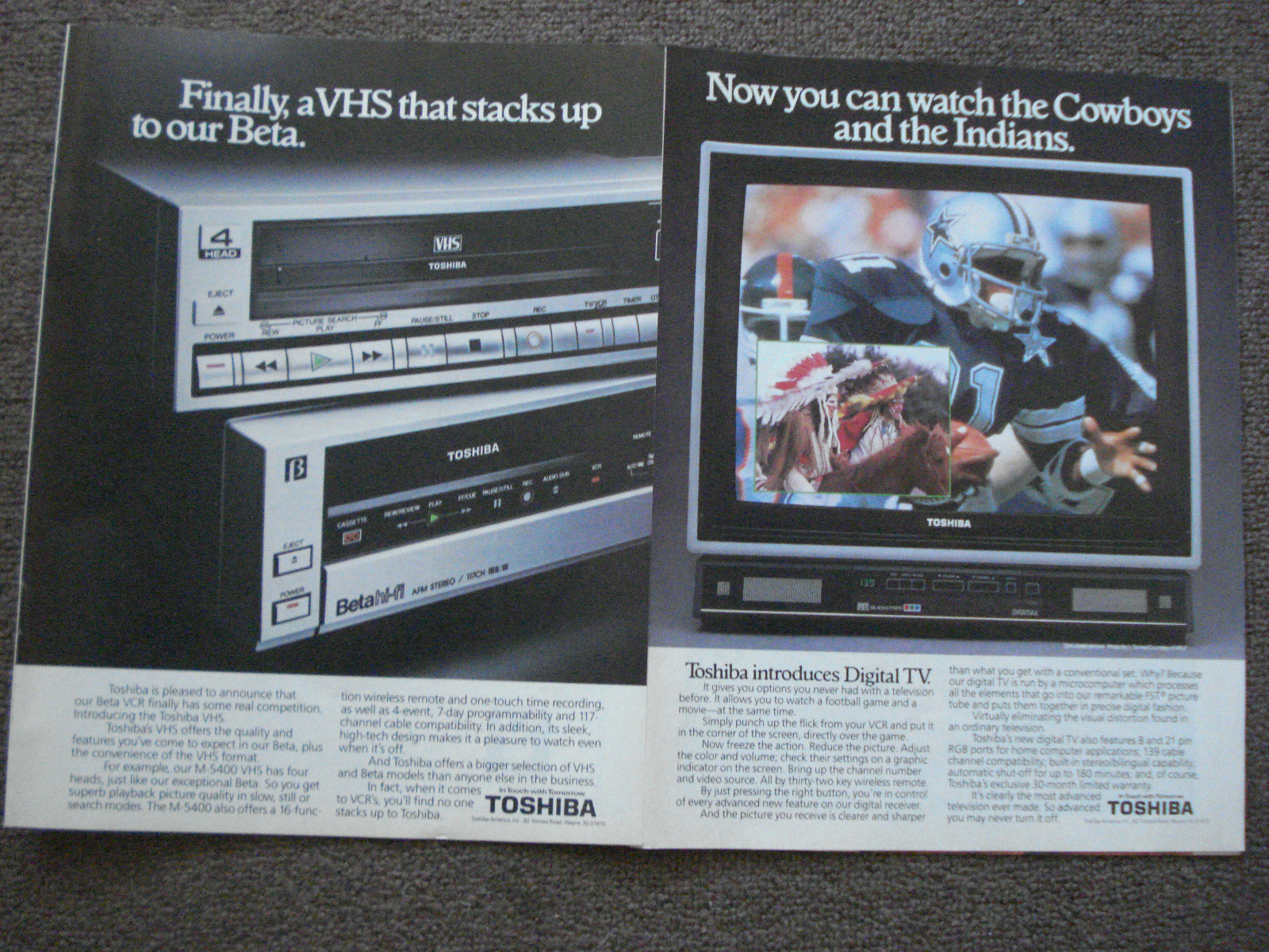 Primary image for Dallas Cowboys & Toshiba VHS Full Page Color Print Ads From The 1980's Very Good