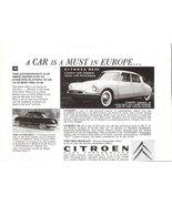1957 Citroen DS 19 & The Panhard half page print ad - $10.00