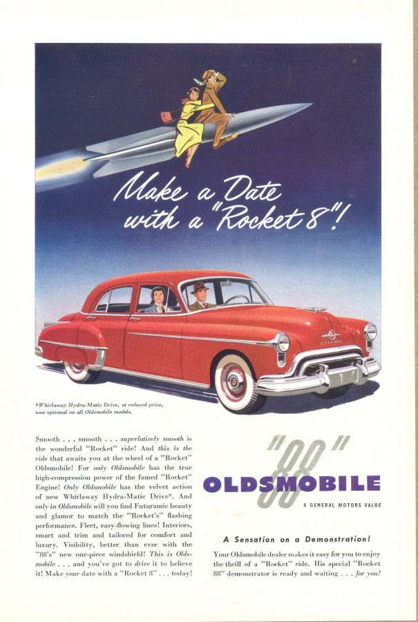 1950 Oldsmobile Olds Rocket 88 red sedan print ad
