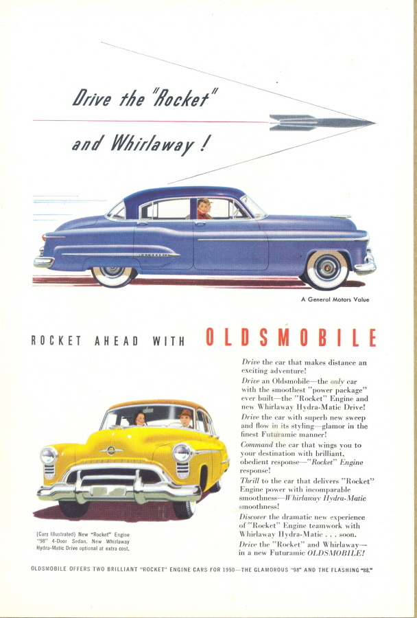 1950 Oldsmobile 98 rocket engine 4 door sedan print ad