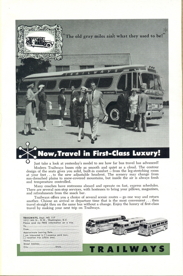 1957 Trailways Liner bus Coaches travellers print ad