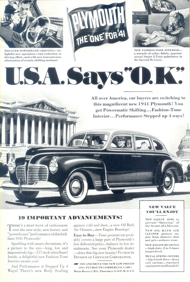 1941 USA OK Plymouth b&w illustrated automobile print ad