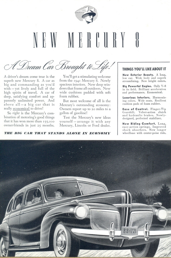 1940 New Mercury 8 vintage b&w automobile print ad