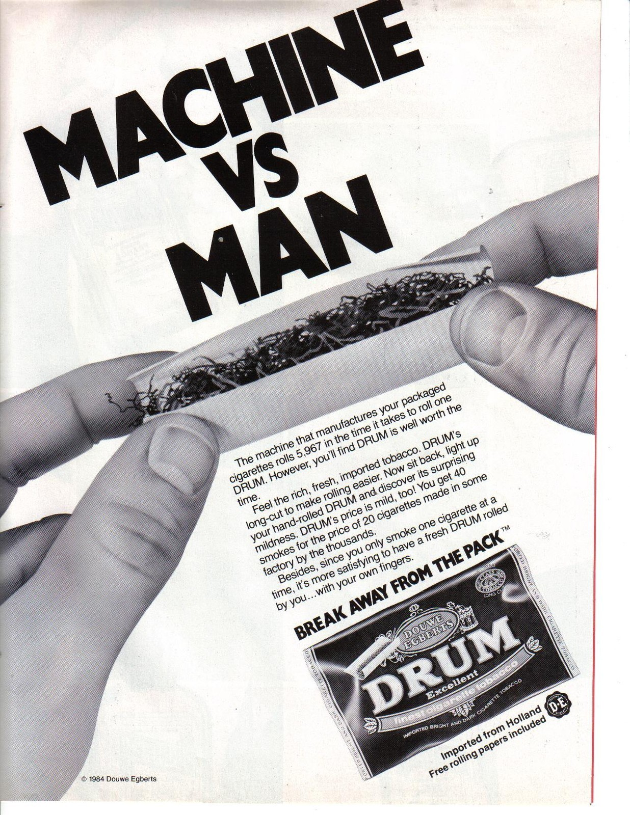 Primary image for 1984 Print Ad DRUM Premium Cigarette Tobacco Rolling Papers ~ Machine vs Man