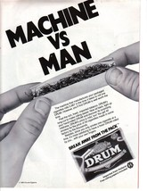 1984 Print Ad DRUM Premium Cigarette Tobacco Rolling Papers ~ Machine vs... - $3.00