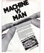 1984 Print Ad DRUM Premium Cigarette Tobacco Rolling Papers ~ Machine vs... - $3.00
