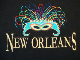 New Orleans Louisiana Mardi Gras Celebration Souvenir Black T Shirt Size M - $15.72