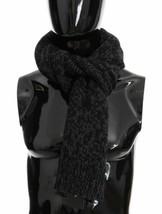Dolce & Gabanna Luxury Black Gray Cashmere Woven Scarf - $286.11