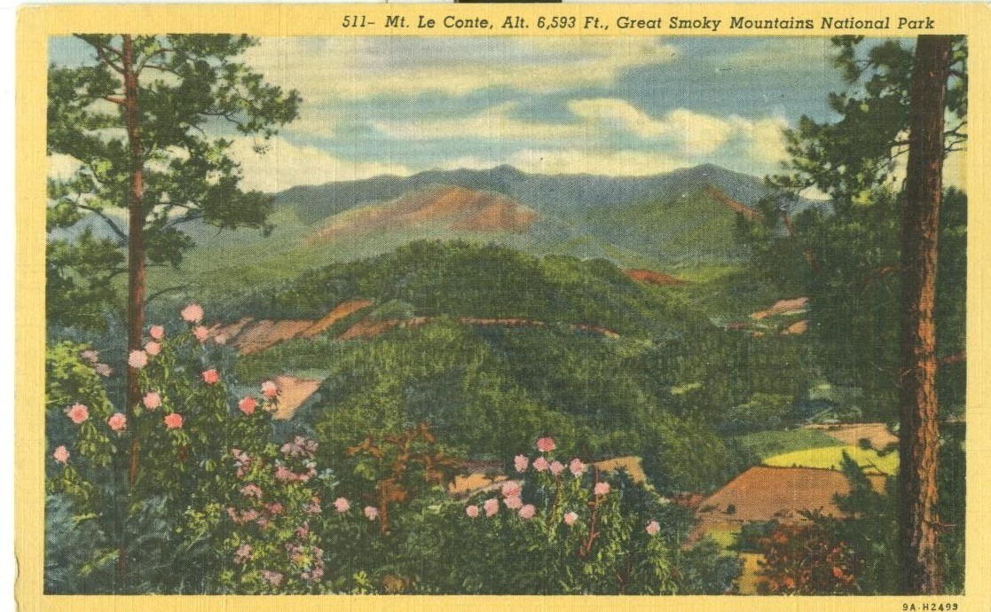 Mt. Le Conte, Great Smoky Mountains National Park, 1949 used linen Postcard
