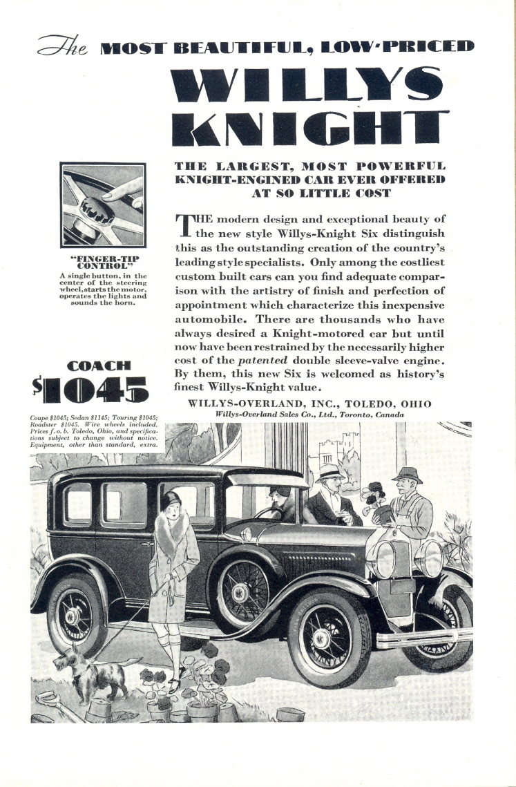 1929 Willys Knight Coach Scotty Terrier Dog print ad
