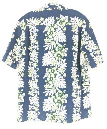Royal Creations Hawaiian Shirt Men's Sz Large Blue Floral (y1/ep)